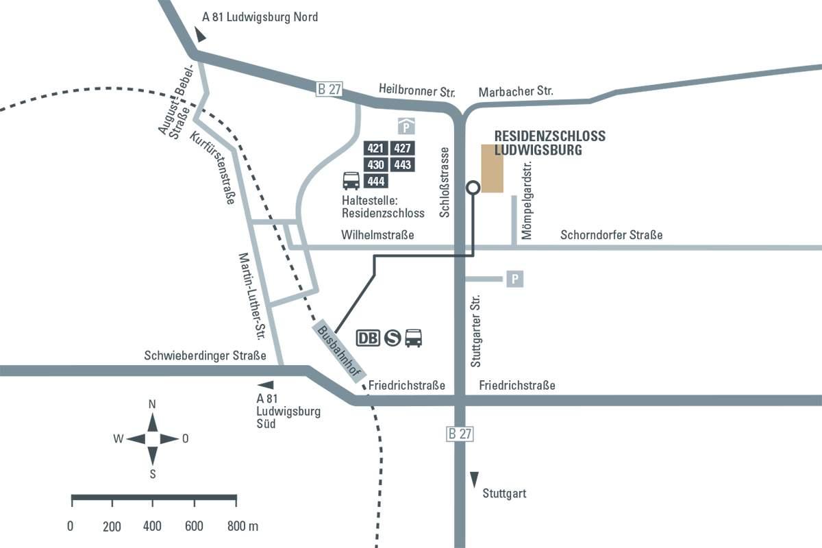 Anfahrtsskizze zum Residenzschloss Ludwigsburg