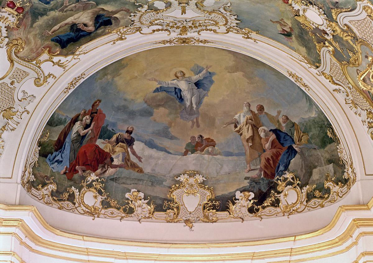 """Deckengemälde """"Christi Himmelfahrt"""" von Livio Retti in der Ordenskapelle des Residenzschlosses Ludwigsburg; Foto: Landesmedienzentrum Baden-Württemberg, Dieter Jäger"""