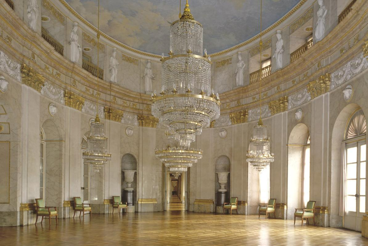 Marble hall at Ludwigsburg Residential Palace. Image: Staatliche Schlösser und Gärten Baden-Württemberg, Steffen Hauswirth