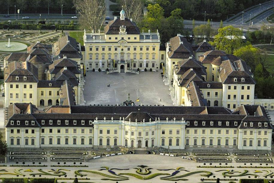 Luftansicht des Residenzschlosses Ludwigsburg; Foto: Staatliche Schlösser und Gärten Baden-Württemberg, Achim Mende
