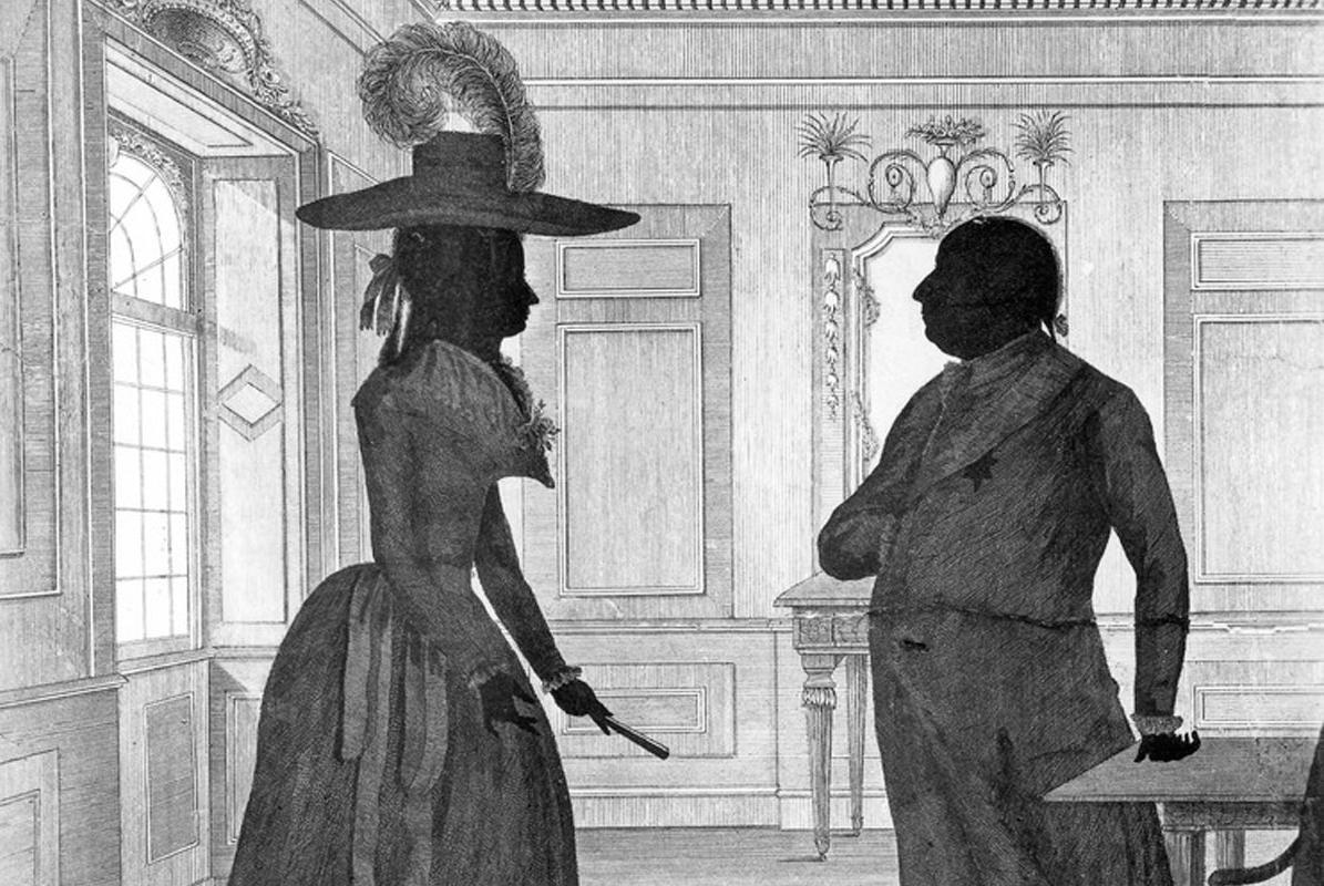 Duke Carl Eugen with Duchess Franziska, Imperial Countess zu Hohenheim, in a silhouette-style etching by J.F. Knisel. Image: Landesmedienzentrum Baden-Württemberg, Robert Bothner