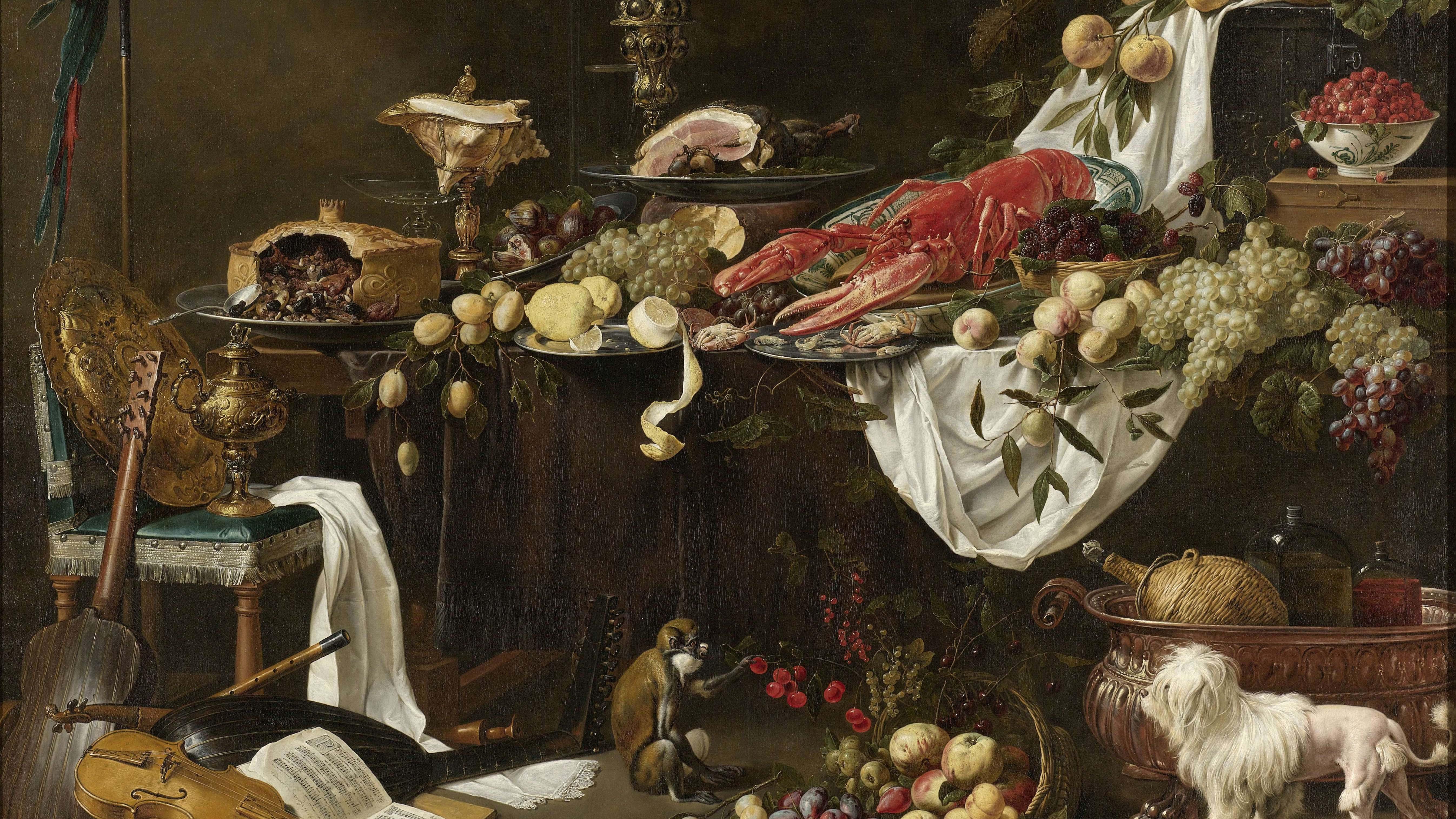 Adriaen van Utrecht, Bankett-Stillleben, 1644, Rijksmuseum; Foto: Wikimedia commons, gemeinfrei