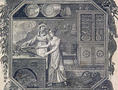 """Cooks at work, illustration from the """"Allgemeines deutsches Kochbuch"""" (Universal German Cookbook), 1819. Image: Wikimedia Commons, public"""