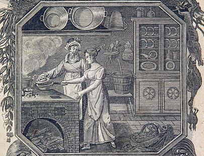 Köchinnen bei der Arbeit, Illustration aus Allgemeines deutsches Kochbuch, 1819; Foto: Wikimedia commons, gemeinfrei