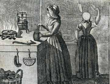 Kochen im Rokoko, Szene aus Küchentaschenbuch Leipzig, 1795; Foto: Wikimedia commons, gemeinfrei