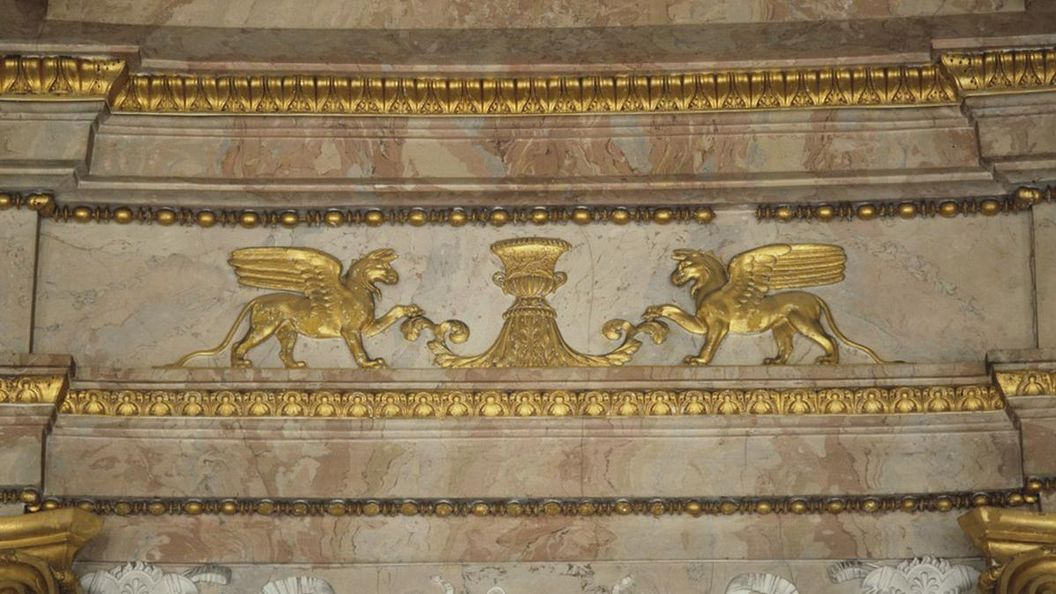 Detail of the wall decor in the marble hall at Ludwigsburg Residential Palace. Image: Landesmedienzentrum Baden-Württemberg, Sven Grenzemann