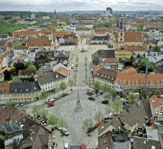 View from the royal stables tower to the south, across the wood market to the marketplace. Image: Landesmedienzentrum Baden-Württemberg, Sven Grenzemann