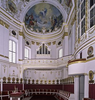 Aperçu de la chapelle des ordres au château résidentiel de Ludwigsbourg; crédit photo: Staatliche Schlösser und Gärten Baden-Württemberg, ArnimWeischer