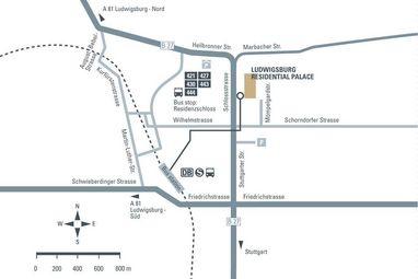 How to get to Ludwigsburg Residential Palace, illustration: Staatliche Schlösser und Gärten Baden-Württemberg, JUNG:Kommunikation