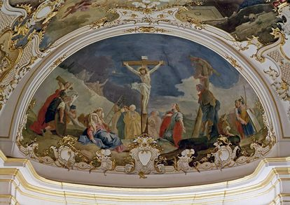 "Ceiling painting ""The Crucifixion"" by Livio Retti in the order chapel at Ludwigsburg Residential Palace. Image: Landesmedienzentrum Baden-Württemberg, Dieter Jäger"