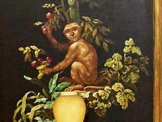 Residenzschloss Ludwigsburg, Wanddetail mit Affe