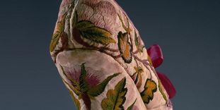 Embroidery on a Baroque shoe in the fashion museum at Ludwigsburg Residential Palace.
