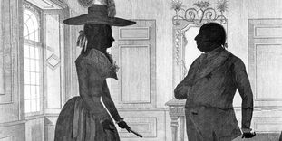 Herzog Carl Eugen mit Herzogin Franziska, Reichsgräfin zu Hohenheim auf einer Radierung im Stil eines Schattenrisses von J.F. Knisel