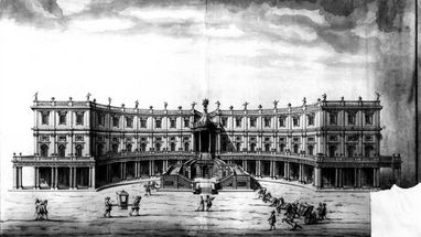 Pen and ink drawing by Donato Giuseppe Frisoni with a design plan for the palace structure; scan: Landesmedienzentrum Baden-Württemberg