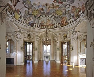 Gaming pavilion at Ludwigsburg Residential Palace with ceiling paintings by Colomba and Wohlhaupter. Image: Staatliche Schlösser und Gärten Baden-Württemberg, Steffen Hauswirth