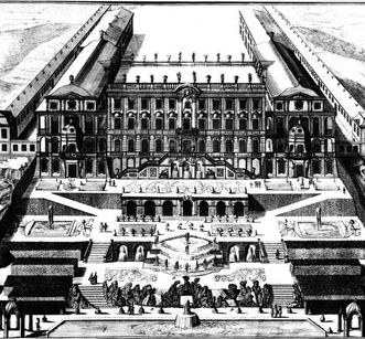 Copper engraving of Ludwigsburg Residential Palace and gardens, 1709, based on Johann Friedrich Nette