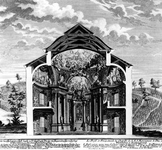Copper engraving of the court chapel, circa 1727