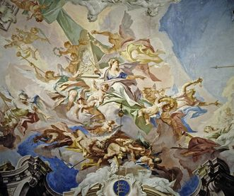 Detail of the ceiling fresco in the ancestral portrait gallery at Ludwigsburg Residential Palace