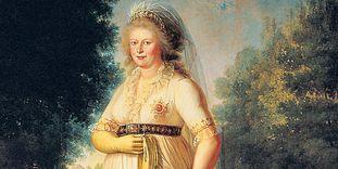 Königin Charlotte Mathilde auf einem Gemälde von Philipp Friedrich Hetsch, um 1800