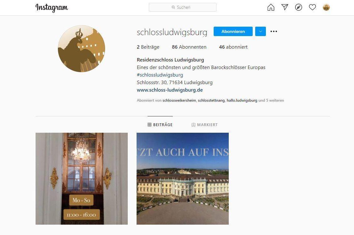 Residenzschloss Ludwigsburg, Instagramseite